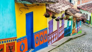 Bright Little Houses in Bogota Colombia