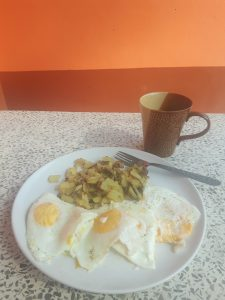 Gluten free breakfast of eggs and potatoes