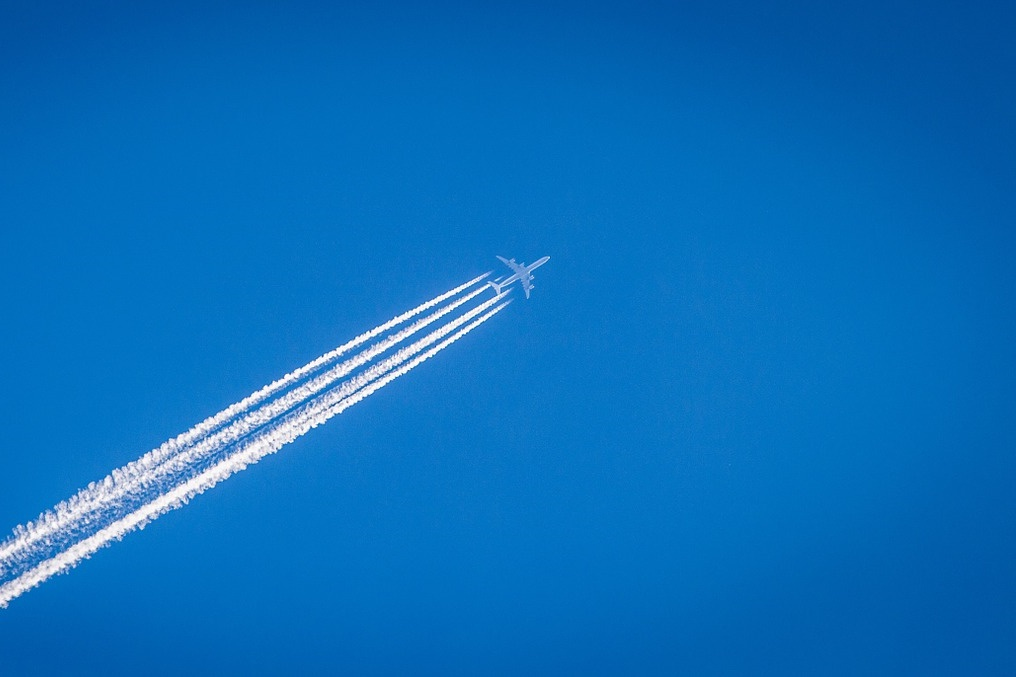 An airplane in the sky