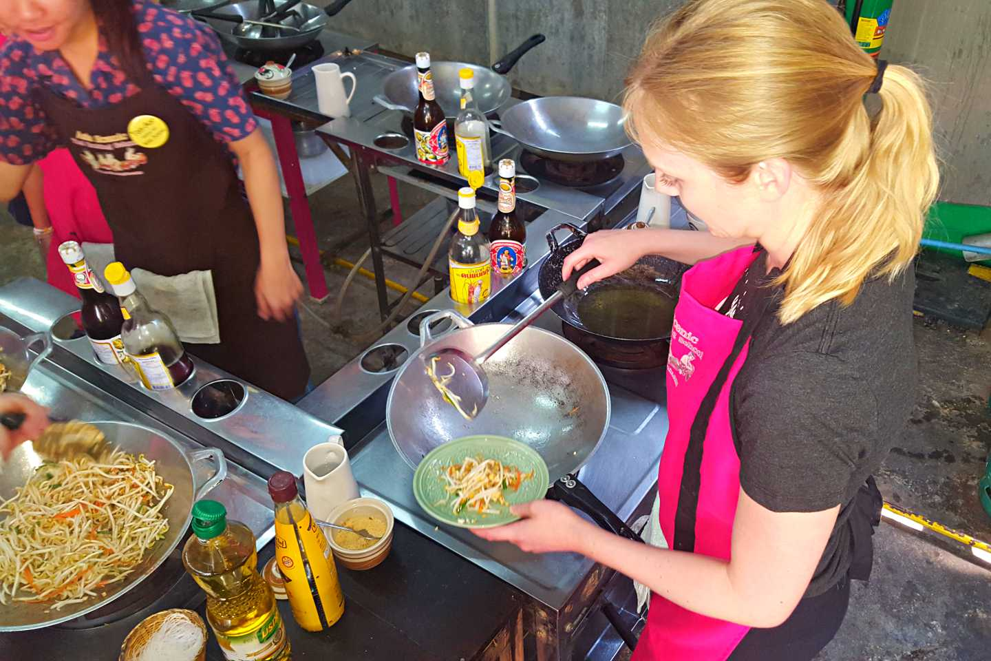 A girl cooking in thailand