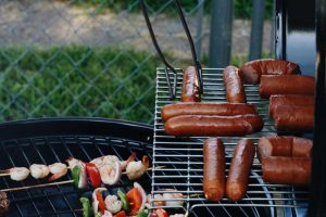 Gluten Free sausages on the barbeque