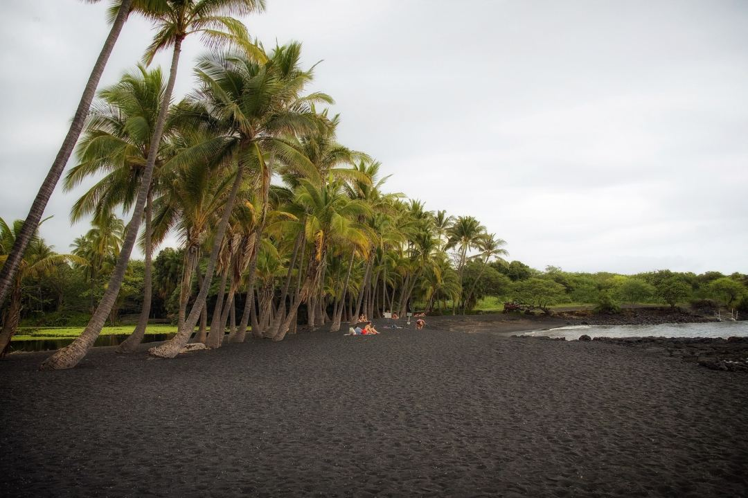 Black sand beach on Big Island